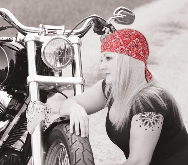 Biker chick with red Hav-a-danna by The Bandanna Company