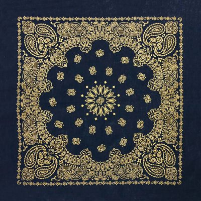Navy-Gold-Metallic paisley metallic bandana bandanna