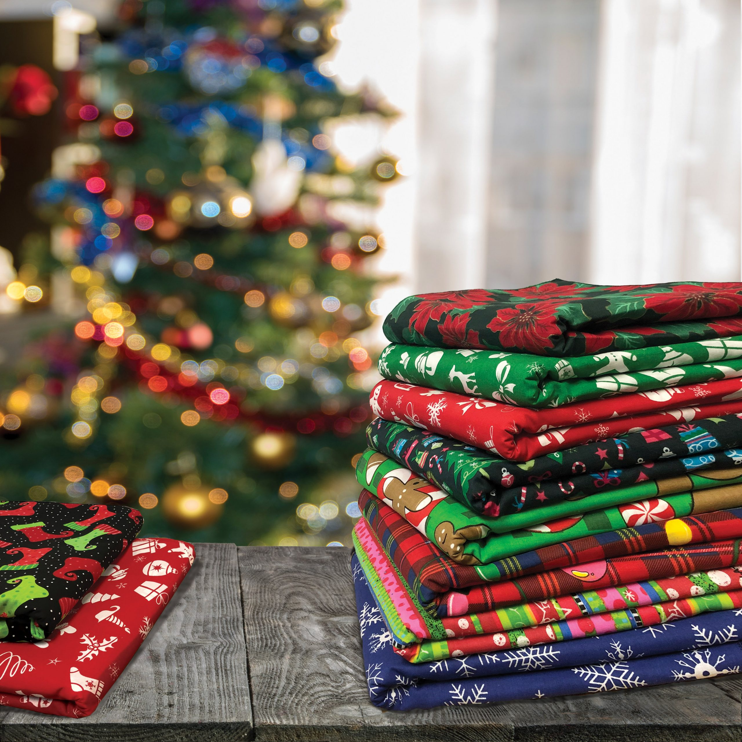 Christmas Bandannas folded and stacked
