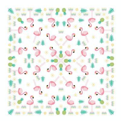 Flamingo and Pineapple design on a bandanna bandana