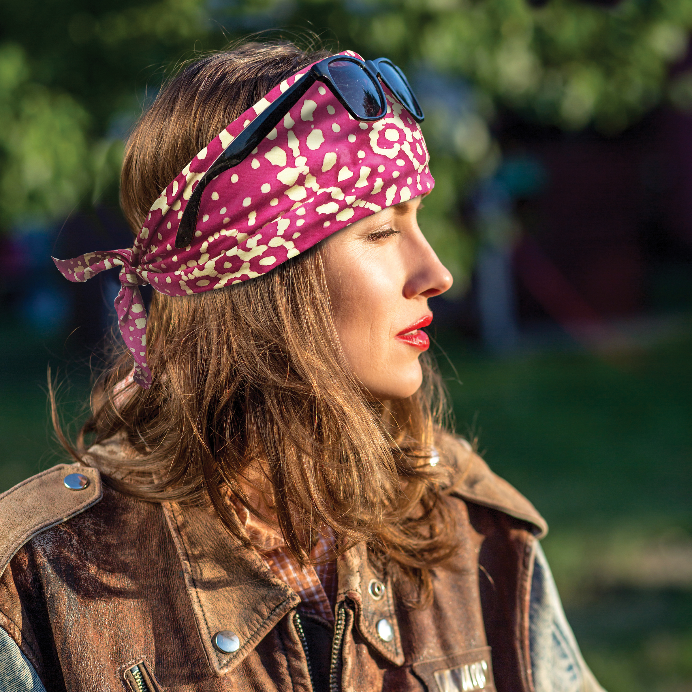 Girl with Batik Headband & leather jacket bandanna bandana