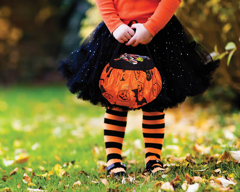 Fall and Halloween - girl holding candy bucket