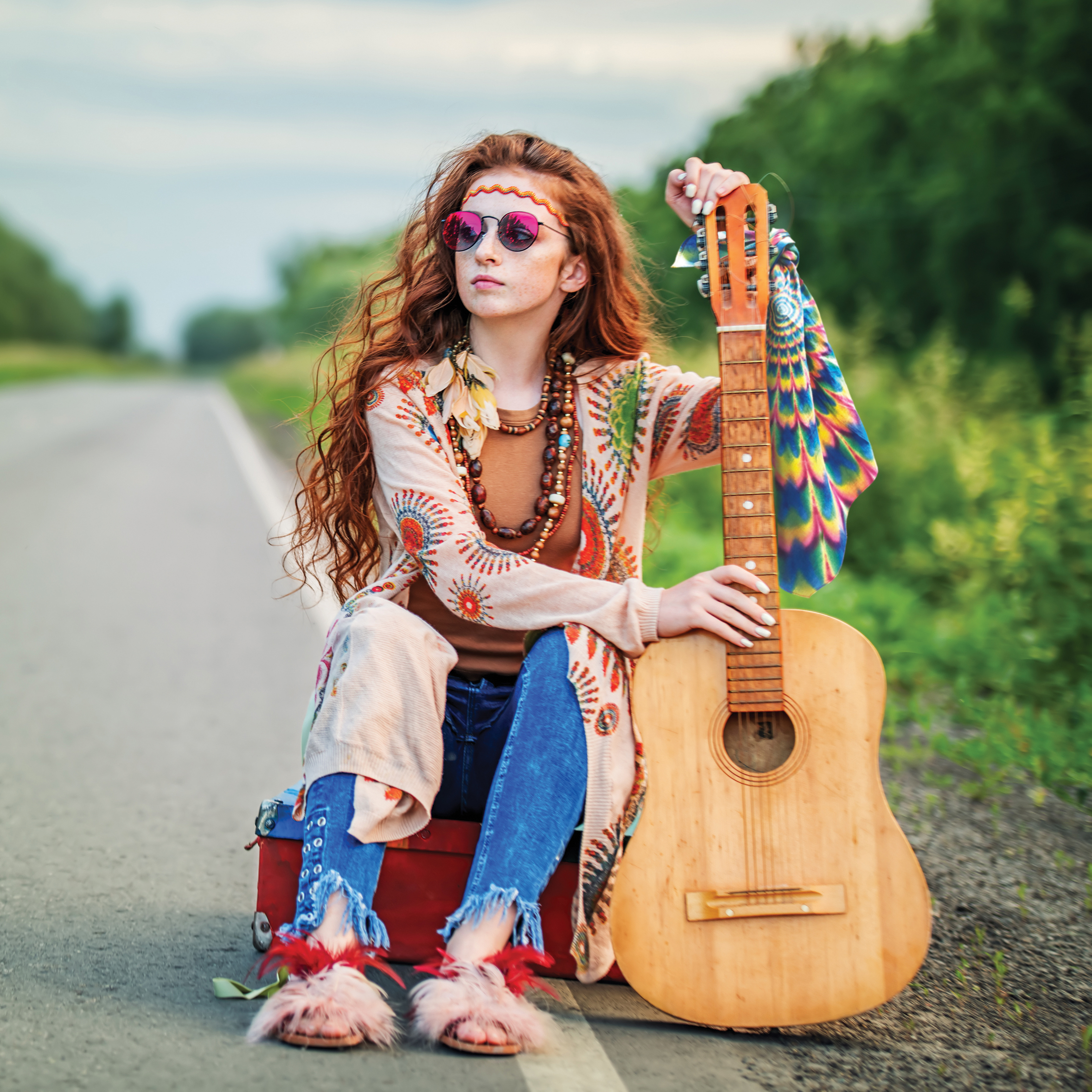 tye-dyed bandana on hippie-chick, girl with bandanna