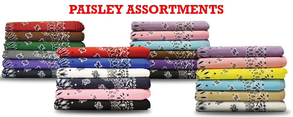 4 stacks of assorted paisley bandanas