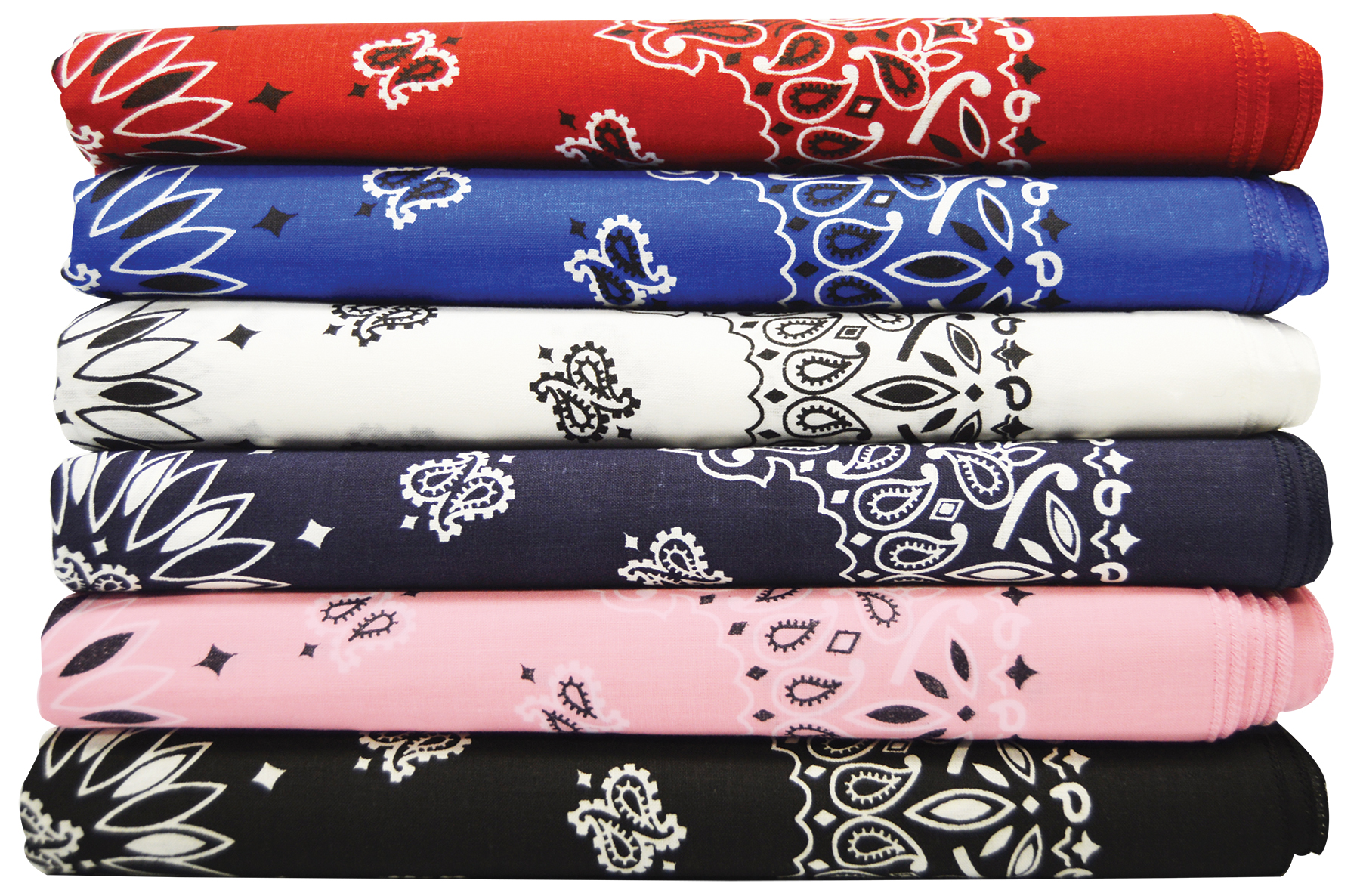 Assorted bandannas stacked on top of each other