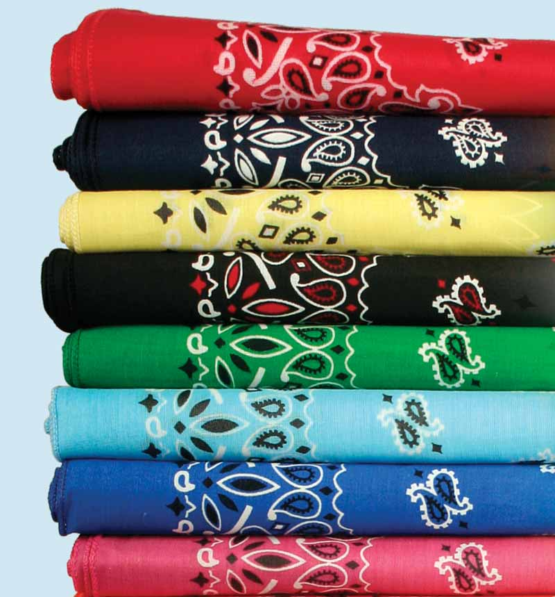 Stack of traditional paisley bandannas from The Bandanna Company
